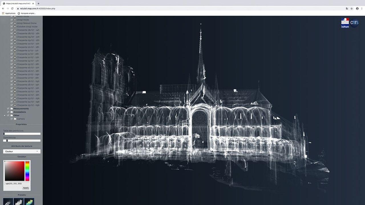 Nuage de points 3D à partir de la face sud de la cathédrale Notre-Dame de Paris.