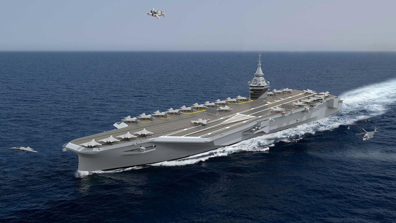 Le porte-avions nouvelle génération fera 305 mètres de long et aura une masse de 75.000 tonnes contre une longueur de 262 mètres et 40.000 tonnes de masse pour l'actuel Charles de Gaulle