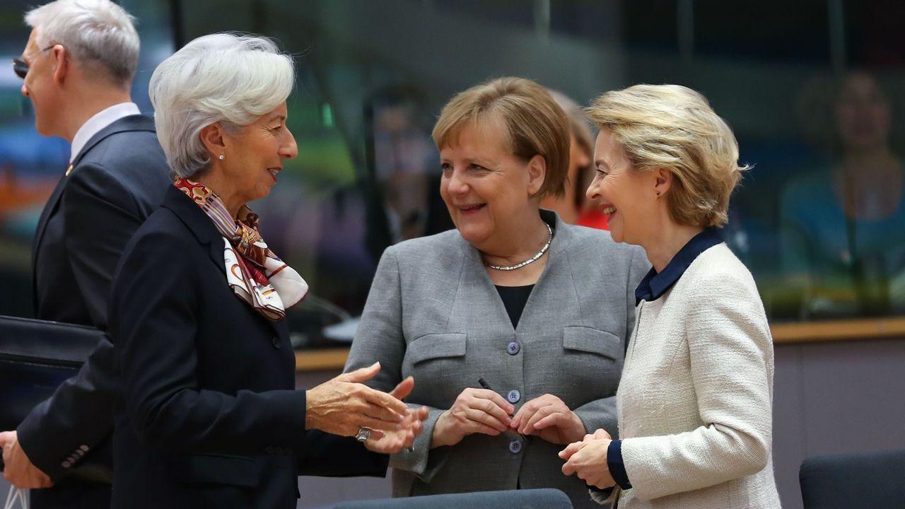 Christine Lagarde, Angela Merkel et Ursula Von Der Leyen, lors d'un sommet européen, le 13 décembre 2019, à Bruxelles.