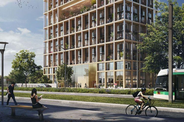 Le projet Wood Up (dans le 13earrondissement de Paris, quartier Bruneseau) dont la livraison est prévue en2022, sera la toute première tour de 15étages à 100% en ossature bois.