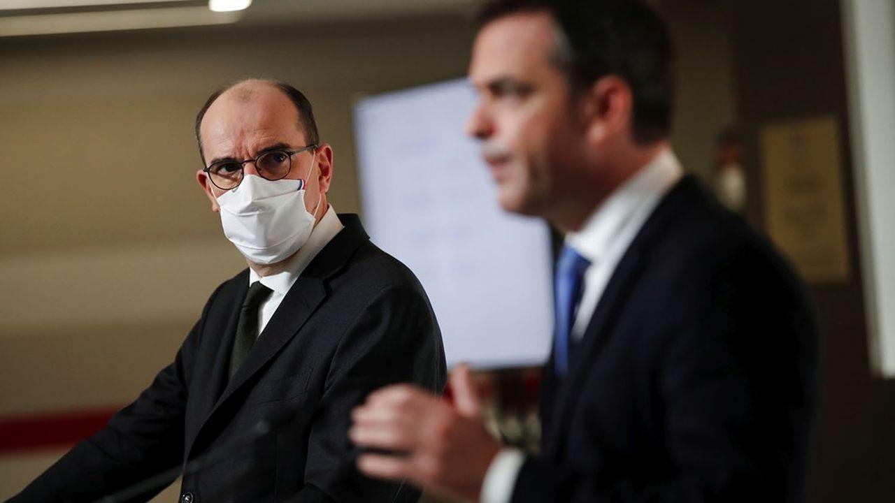 Le Premier ministre Jean Castex a annoncé ce jeudi des mesures de freinage de l'épidémie, en compagnie du ministre de la Santé, Olivier Véran.