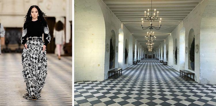 Une collection inspirée par les lieux, avec une palette noir et blanc comme le sol de la grande galerie.