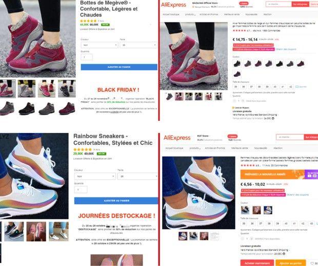 A gauche, des paires de chaussures vendues sur un site de dropshipping et prétendument soldées à 29,90 euros et 44,90 euros. Ces mêmes paires sont en vente sur AliExpress, mais à moins de 10,02 euros et 16,14 euros.