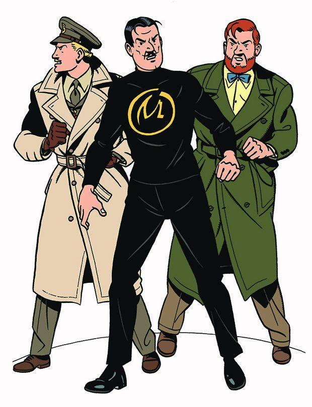 Blake (à gauche) et Mortimer, entourant leur ennemi Olrick, dans «Le Cri du Moloch», scénarisé par Jean Dufaux.