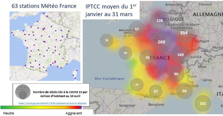 Cette carte montre le rapport entre l'IPTCC (plus il est rouge, plus ce facteur d'humidité et de température est aggravant) et le nombre de décès liés au Covid-19.