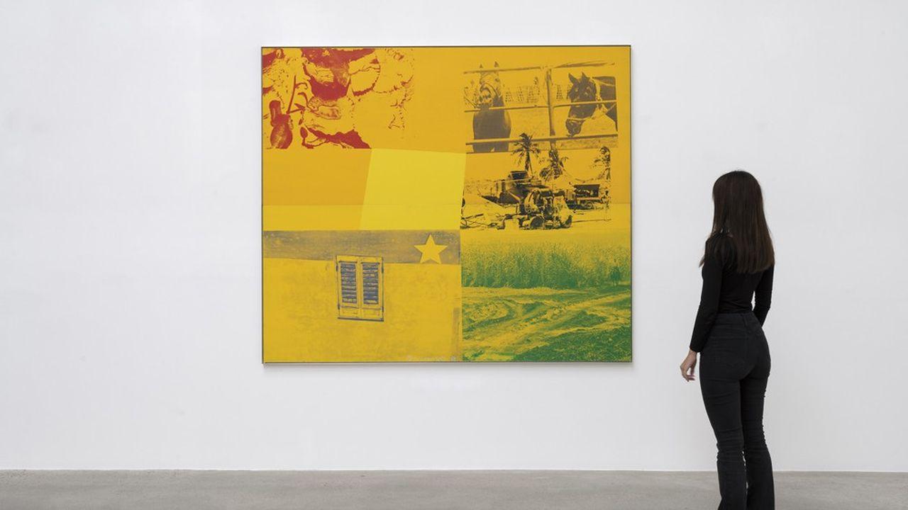 « Yellow Ranch » (« Rancho Amarillo ») de Robert Rauschenberg, 1988 exposé à la Galerie Thaddaeus Ropac à Pantin.