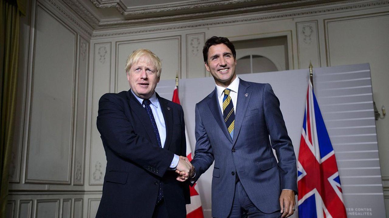 Le Premier ministre britannique Boris Johnson avec son homologue canadien Justin Trudeau, au Sommet du G7 à Biarritz, en août2019.