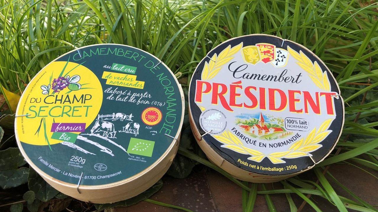 A gauche, le camembert de Normandie AOP; à droite, le «Fabriqué en» n'a plus le droit d'être commercialisé depuis le 1erjanvier 2021.
