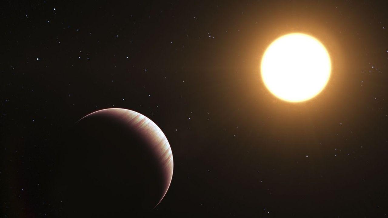 Une vue d'artiste de l'exoplanète Tau Boötes b, découverte en 1996.