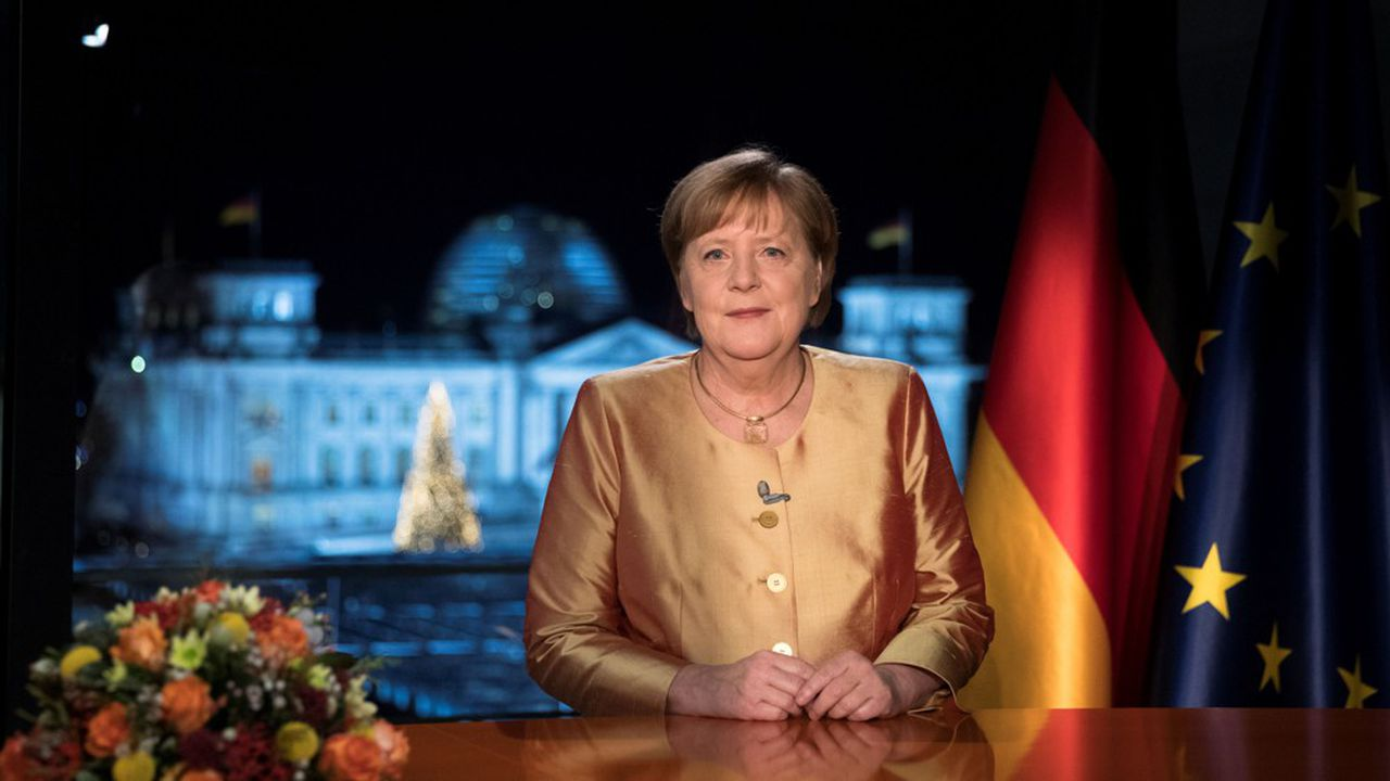 La chancelière Angela Merkel prononce le 31décembre 2020 ses derniers voeux avant les élections législatives du 26septembre prochain.