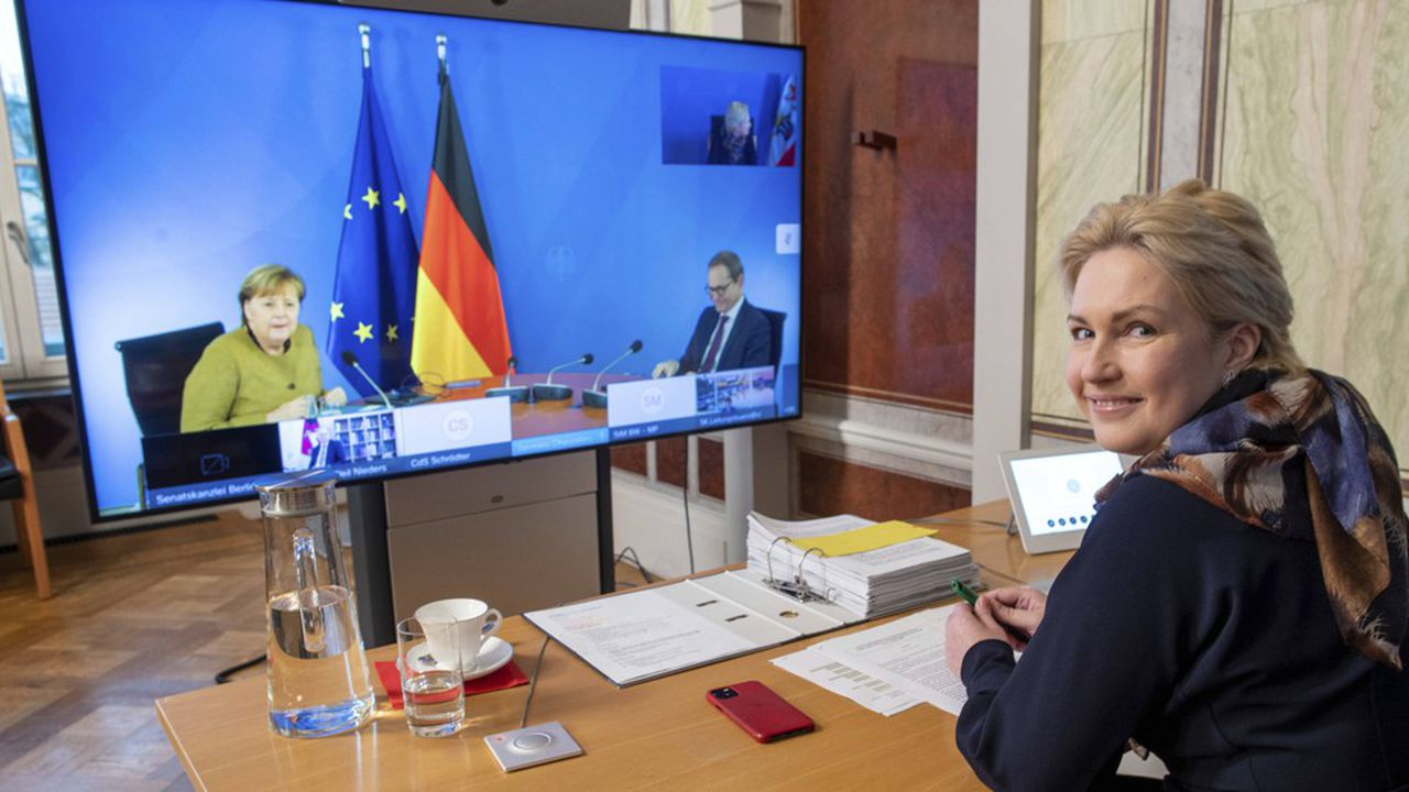 Manuela Schwesig, premier ministre du Mecklembourg-Poméranie-Occidentale assistait mardi à distance à la réunion des 16 länder avec Angela Merkel.