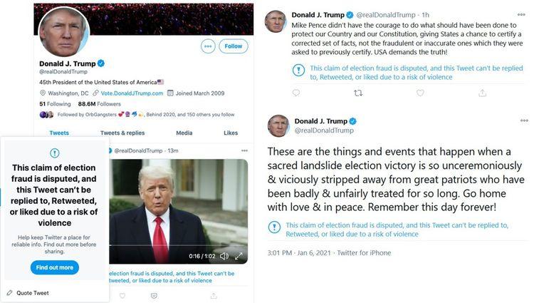 Trois tweets de Donald Trump ont été retirés par la plateforme.
