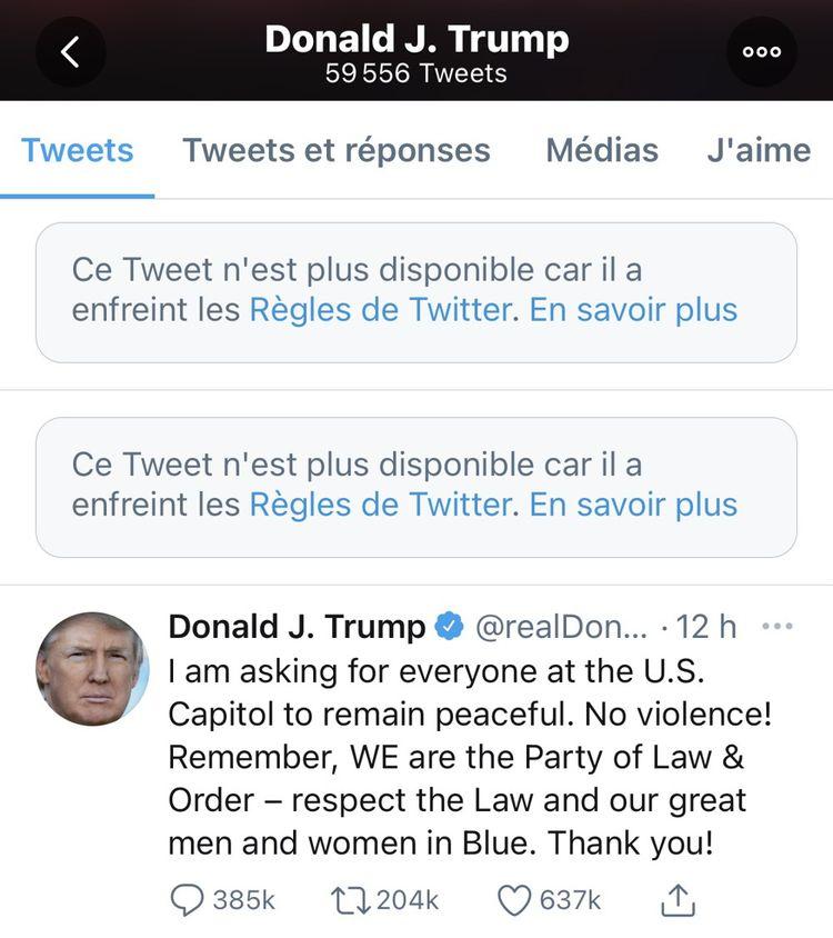 Plusieurs tweets du président sortant Donald Trump ont été supprimés.