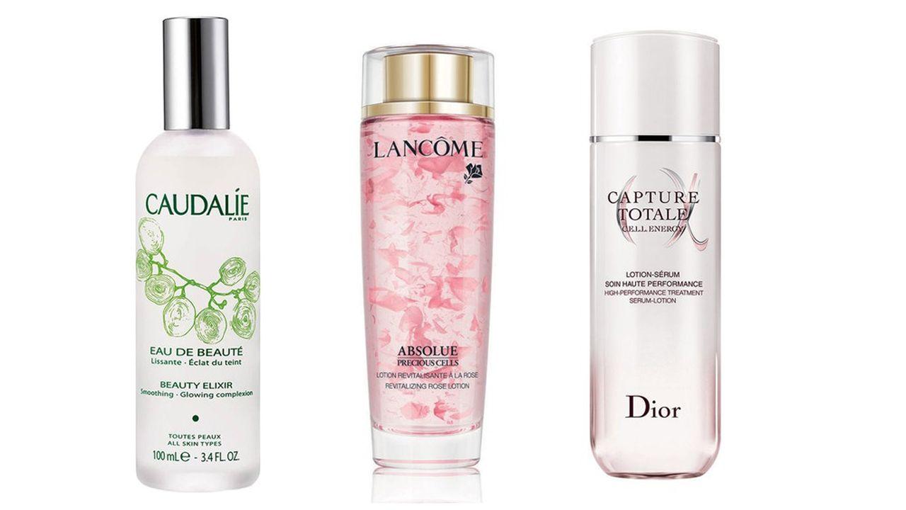 L'Eau de beauté de Caudalie, lotion Absolue revitalisante à la rose de Lancôme et Capture totale de Dior.