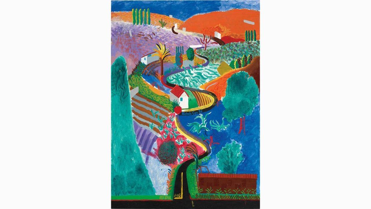 «Nichols Canyon» de David Hockney, vendu 41millions de dollars lors de la vente d'art du XXesiècle et contemporain, organisée le 7décembre, à New York, par Phillips.