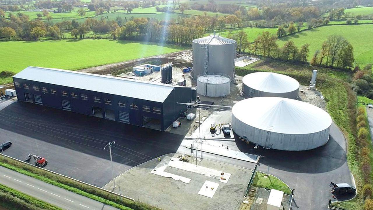 Le site de Fonroche Biogaz à Sèvremont (Vendée). Le biogaz est un gaz renouvelable produit par la fermentation de matières organiques. Sa purification conduit à la production de biométhane, qui a les mêmes propriétés que le gaz naturel.