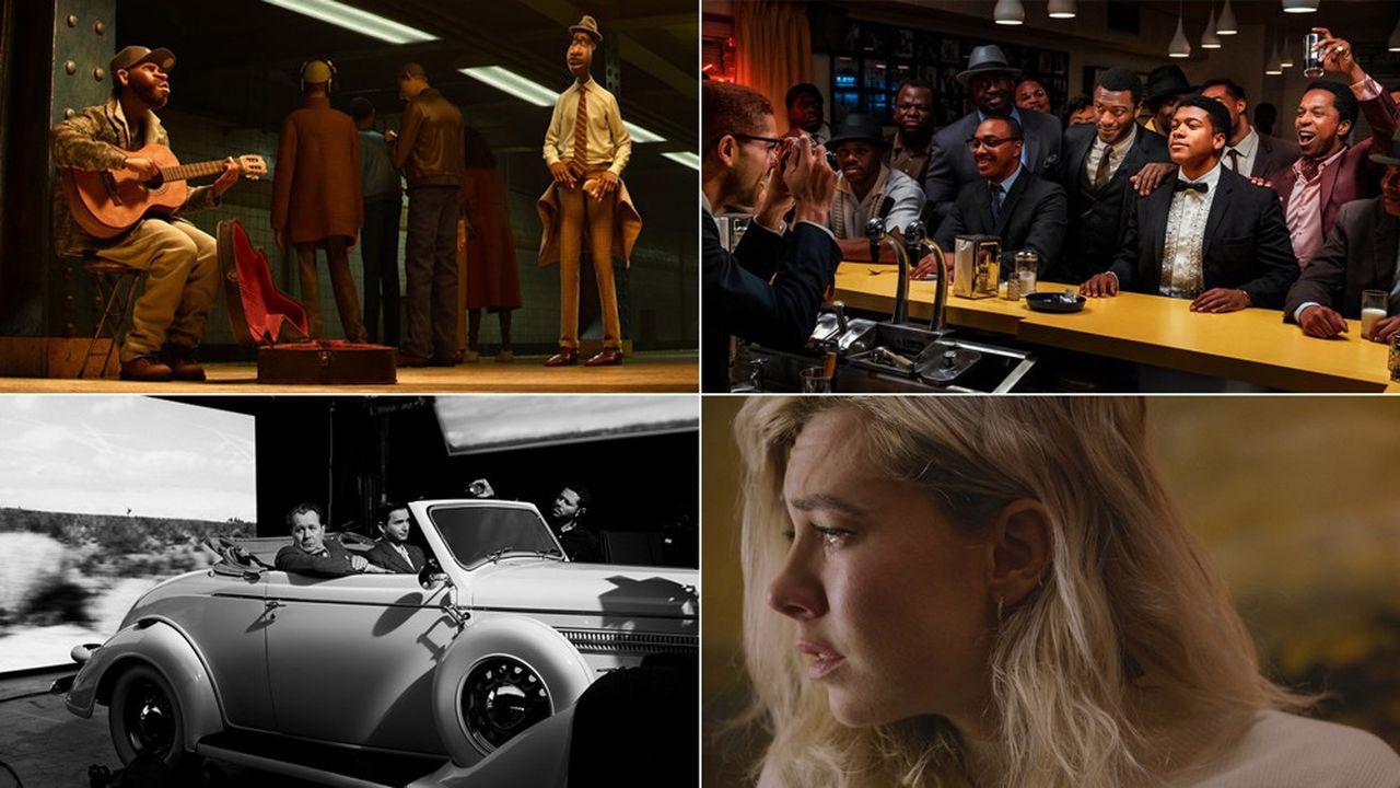 De gauche à droite: « Soul» sur Disney +, « One night in Miami » sur Amazon Prime, «Mank» et «Pieces of a Woman sur Netflix.