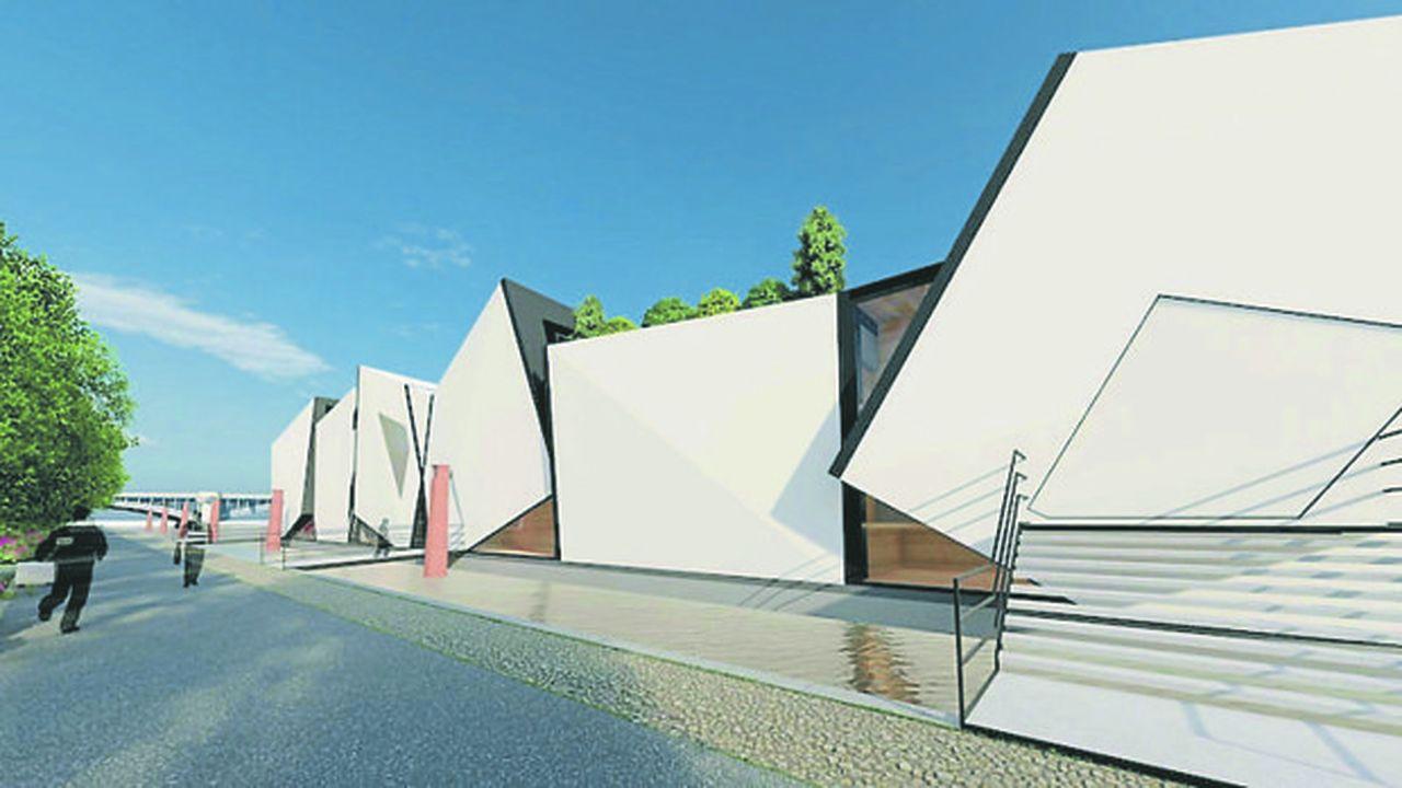 Ce bâtiment flottant, composé de six cubes blancs, sera installé d'ici un peu plus d'un an.
