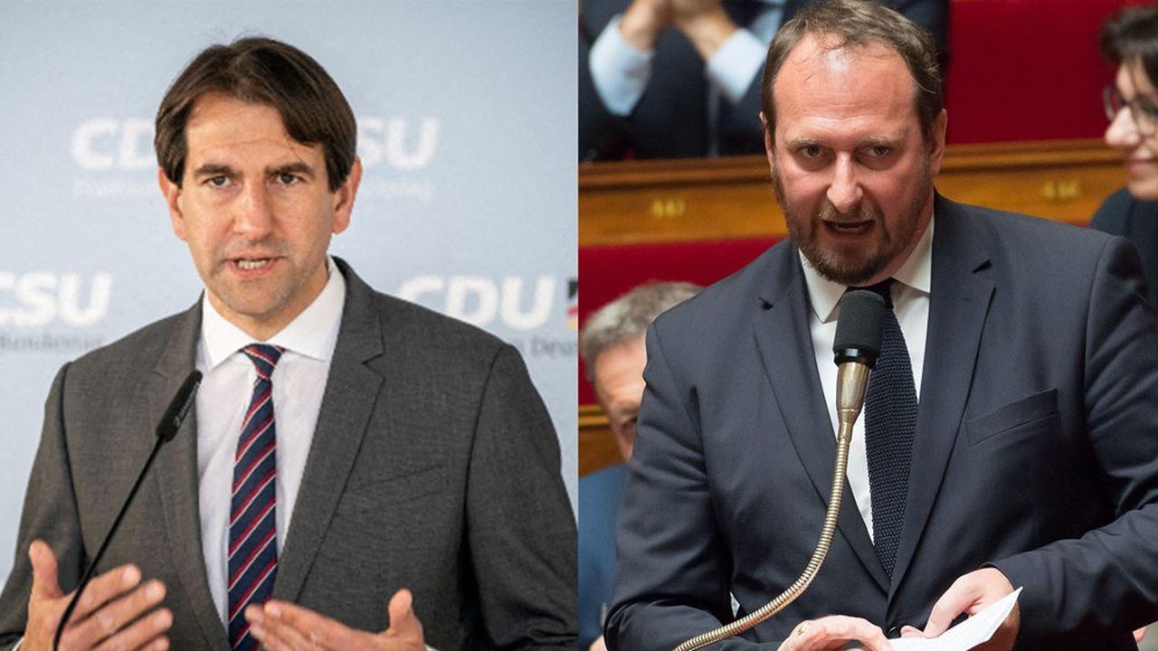 Andreas Jung (g), élu CDU du Bade-Wurtemberg, et Christophe Arend, député En marche de Moselle et président le bureau de l'assemblée parlementaire franco-allemande.