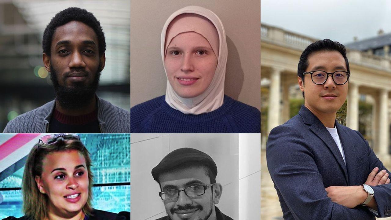 Cinq des visages de la nouvelle promotion du French Tech Tremplin (de haut en bas et de gauche à droite): Mamadou Dramé, ClémencePolveche, David Nget, Justine Ba etMontasser Jabrane.