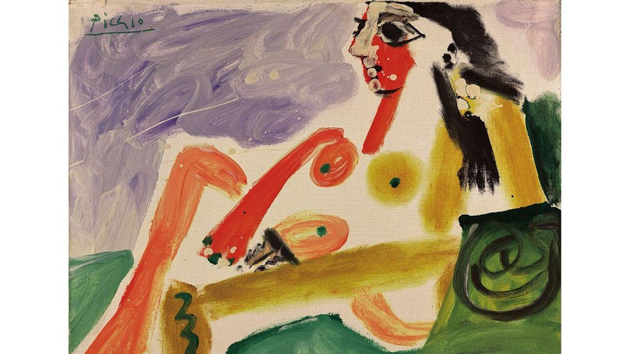 «Nu assis appuyé sur des coussins», de Pablo Picasso (1964).