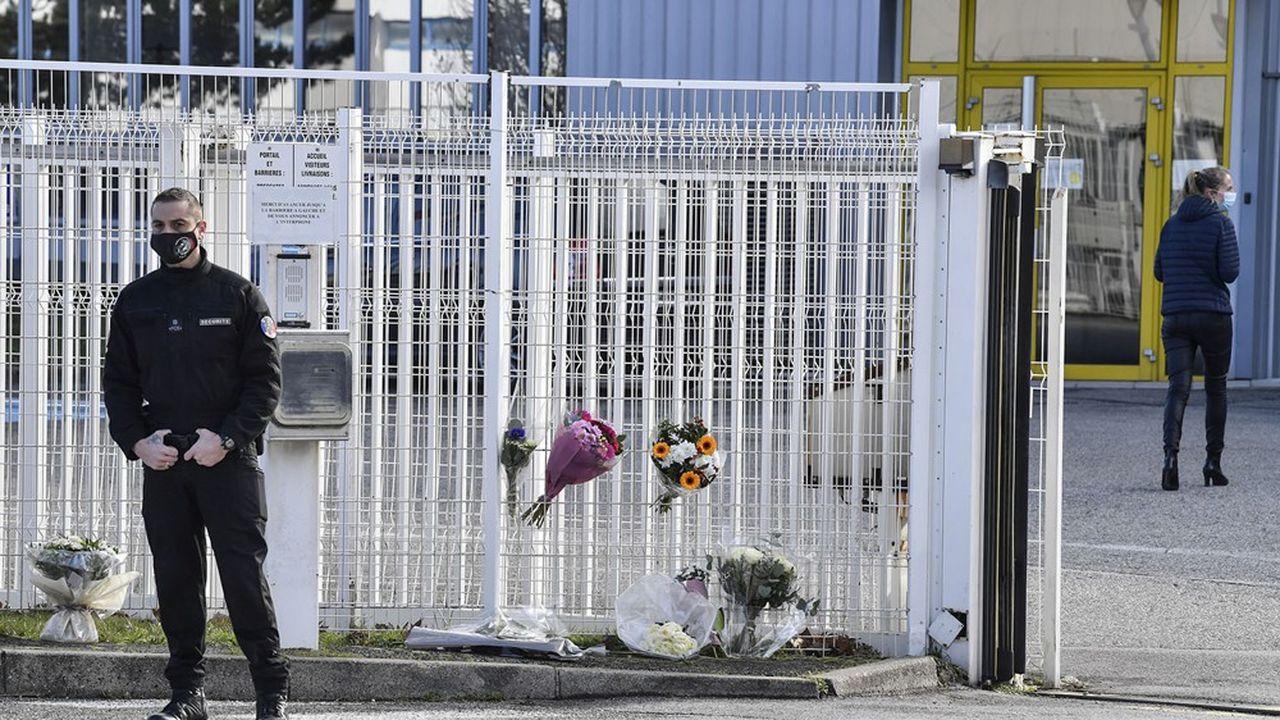 Guilherand-Granges, 29janvier 2021, devant les locaux de l'entreprise ardéchoise Faun où a été assassinée la DRH de l'entreprise.