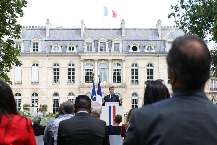 Emmanuel Macron lors de la remise des travaux de la Convention des citoyens sur le climat, le 29juin 2020.