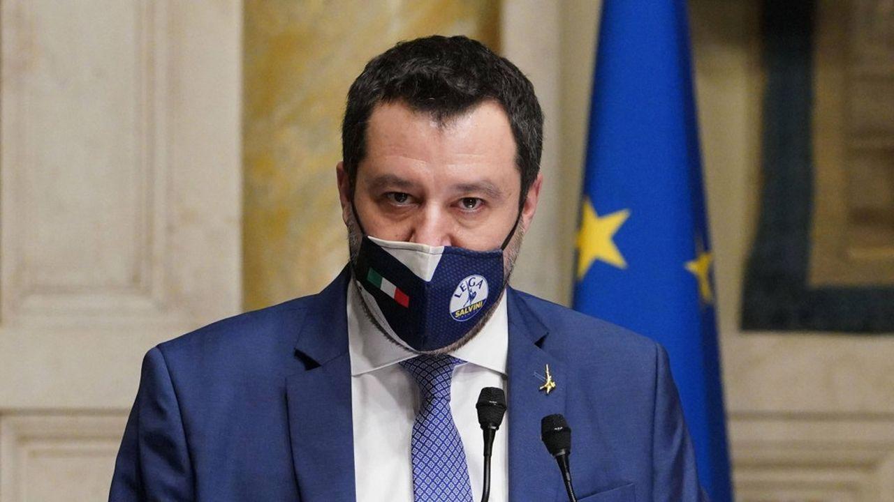 Matteo Salvini à la Chambre des députés pendant les consultations sur la formation d'un nouveau gouvernement, le 9février.