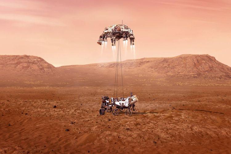 Cette illustration de la Nasa montre l'atterrissage du rover Perseverance sur Mars.