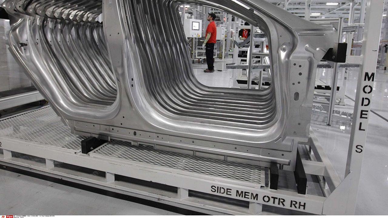Chaîne d'assemblage d'une usine Tesla, à Fremont en Californie.