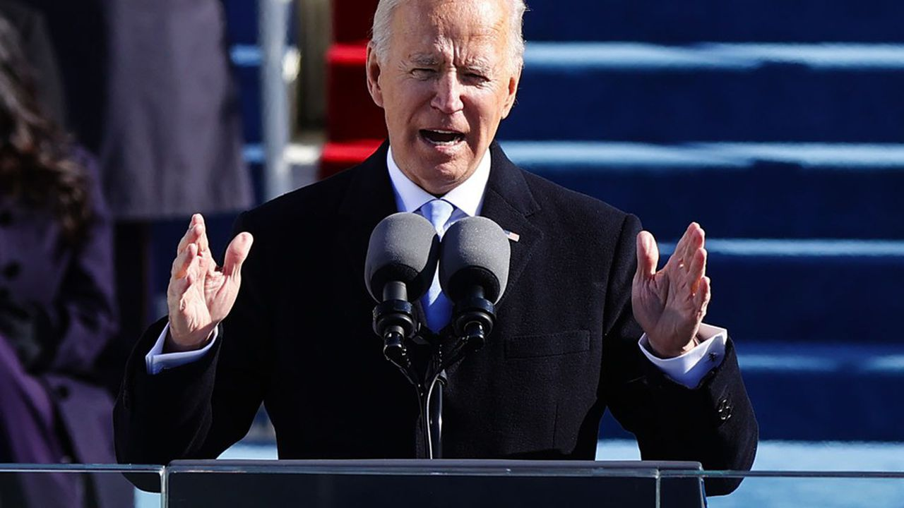 Joe Biden lors de son discours d'investiture devant le Capitole, Washington, 20 janvier 2021.