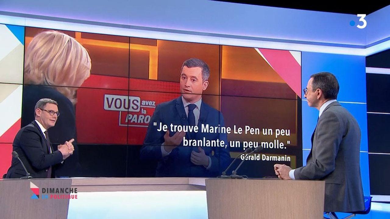 Le président du groupe LR au Sénat, Bruno Retailleau, a estimé dimanche sur France 3 que Gérald Darmanin avait donné «un certificat de dédiabolisation à Marine Le Pen».