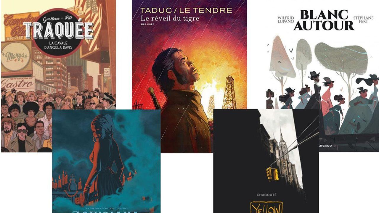 «Traquée» (Glénat), «Louisiana» (Dargaud), «Le Réveil du tigre» (Dupuis) , «Yellow Cab» (Vents d'Ouest) et «Blanc autour» (Dargaud)