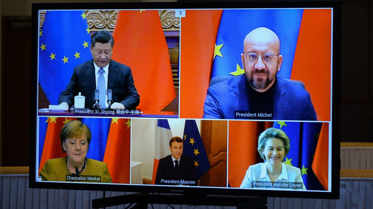 Visioconférence enter Xi Jinping et les dirigeants européens le 30 décembre au sujet de l'accord sur les investissements entre l'Europe et la Chine.