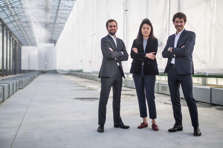 De gauche à droite: Clément Ray, Aude Guo et Bastien Oggeri, les cofondateurs d'Innovafeed.