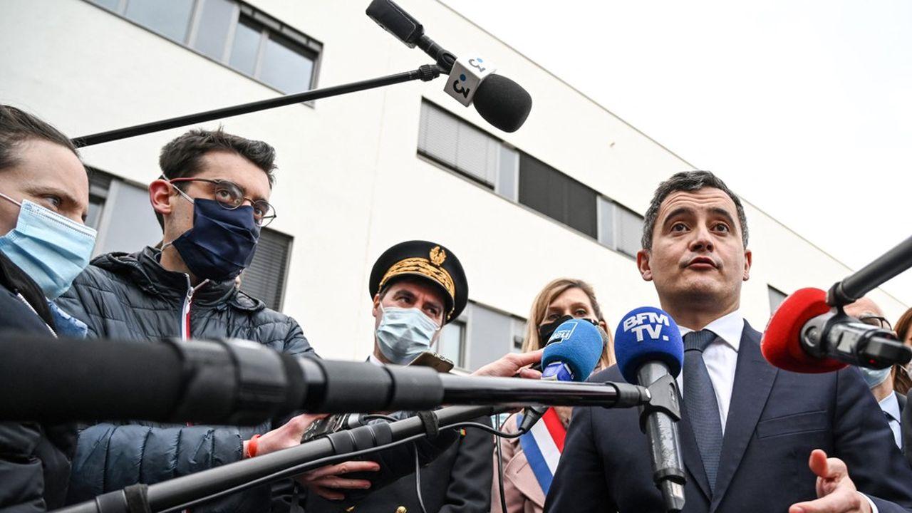 A Annemasse, le ministre de l'Intérieur, Gérald Darmanin, a répondu aux questions des journalistes après l'inauguration du nouvel hôtel de police.