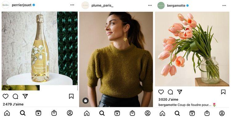 Les comptes Instagram de Perrier-Jouët, Plume Paris et Bergamotte comptent respectivement 134.000, 19.300 et 180.000 abonnés
