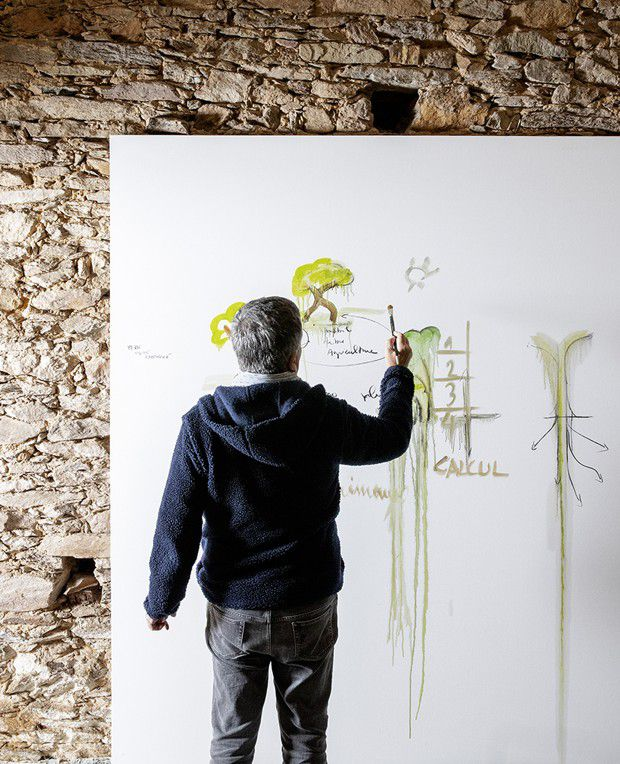 Des oeuvres dans lesquelles Fabrice Hyber intègre des notes, des équations…