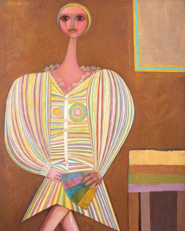 Sans titre (détail), huile sur toile de Menachem Gueffen (1968).