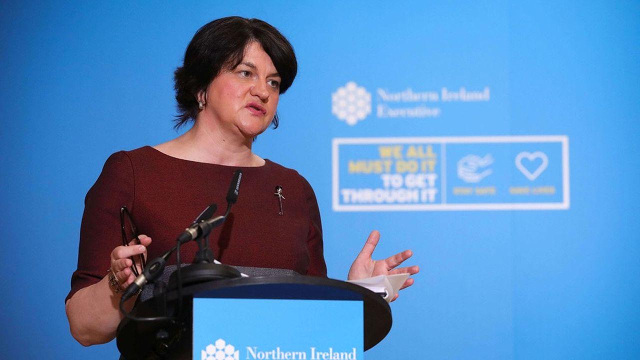 Arlene Foster, la présidente du Democratic Unionist Party (DUP), estime que le protocole sur l'Irlande ne respecte pas l'Act of Union de 1800 qui a fondé l'Union entre l'Irlande et la Grande-Bretagne.