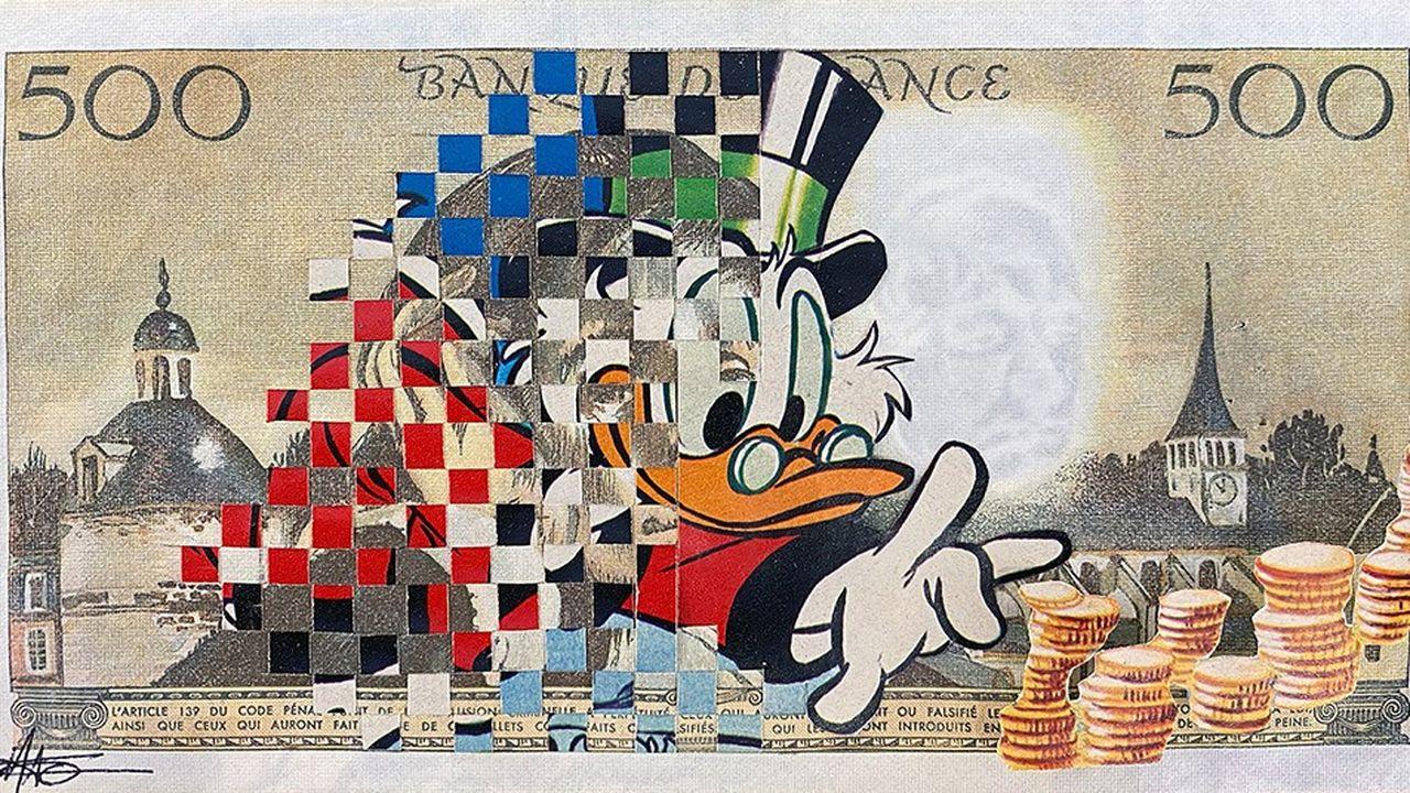 « Mirage » de Magali Vermeersch, oeuvre réalisée sur un véritable billet de 500 francs.