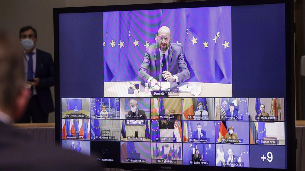 Les dirigeants européens lors de leur vidéoconférence du 21janvier dernier.