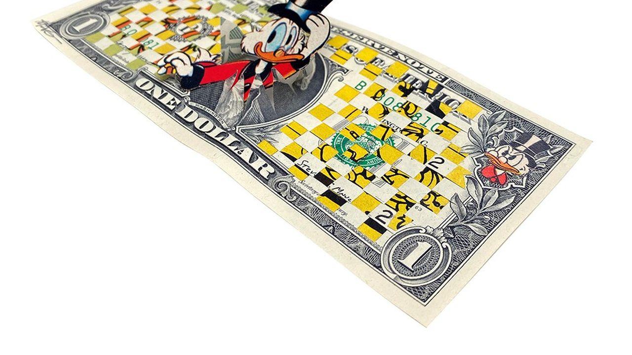 «Sans titre» de Magali Vermeersch, oeuvre réalisée sur un véritable billet de 1 dollar.