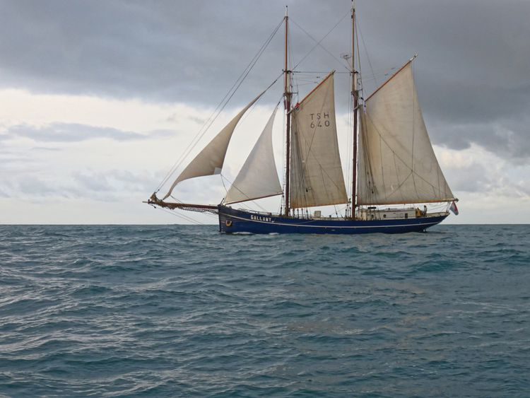 La goélette Gallant, de la Blue Schooner Company, un des vieux gréements affrétés par Towt pour ses traversées de l'Atlantique.