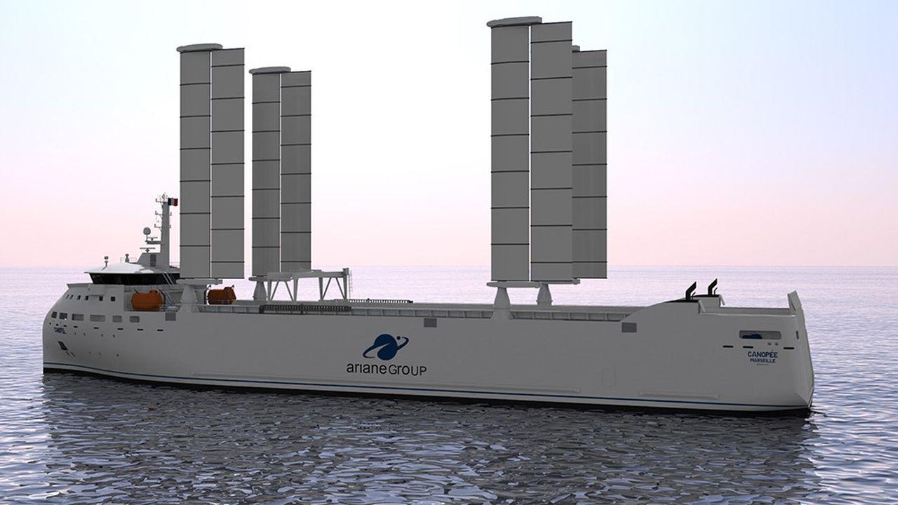 Prototype du projet de cargo de l'entreprise Zéphyr & Borée, actuellement en chantier, qui transportera les éléments de la fusée Ariane entre les sites de construction européens et Kourou.