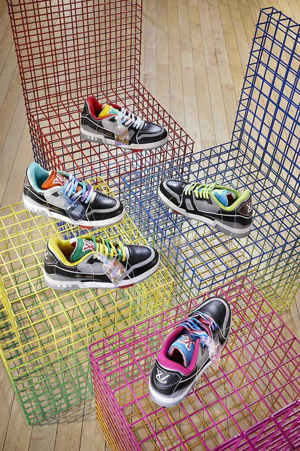 Collection homme. LV Trainer Upcycling by Virgil Abloh, collection homme printemps-été 2021.