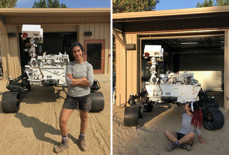 Farah Alibay dans le bac à sable baptisé « champs de Mars » aux Etats-Unis lors des tests grandeur nature fin 2020.