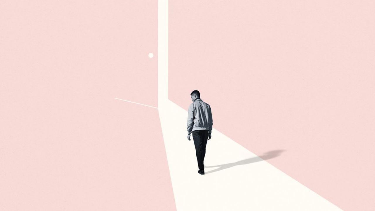 Full length rear view of sad young man walking towards ajar door