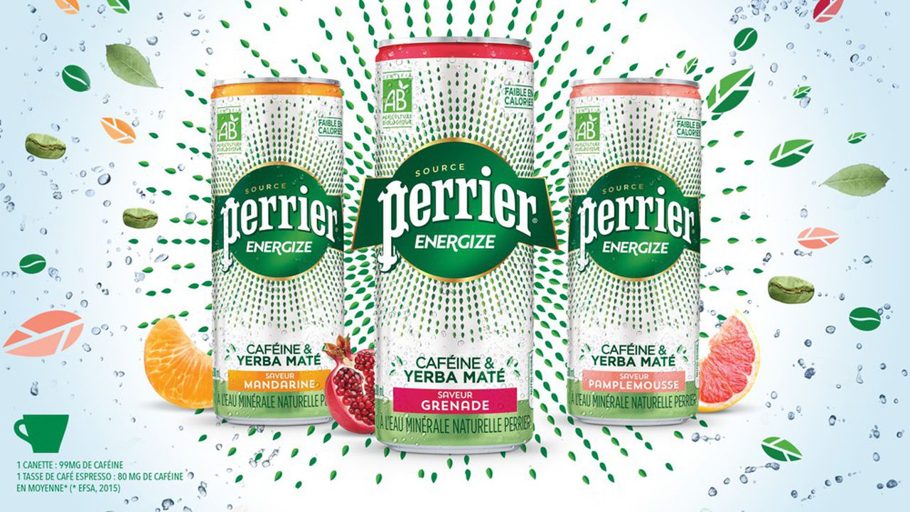 Perrier Energize, 100% biologico, fornisce la stessa dose di caffeina di un espresso.  Non contiene taurina a differenza dei grandi concorrenti come la Red Bull.