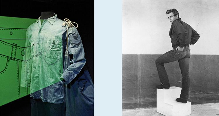 L'exposition «Jean» à la Cité des sciences à Paris, se visite actuellement en ligne. A droite, James Dean en 1956, époque «La Fureur de vivre».
